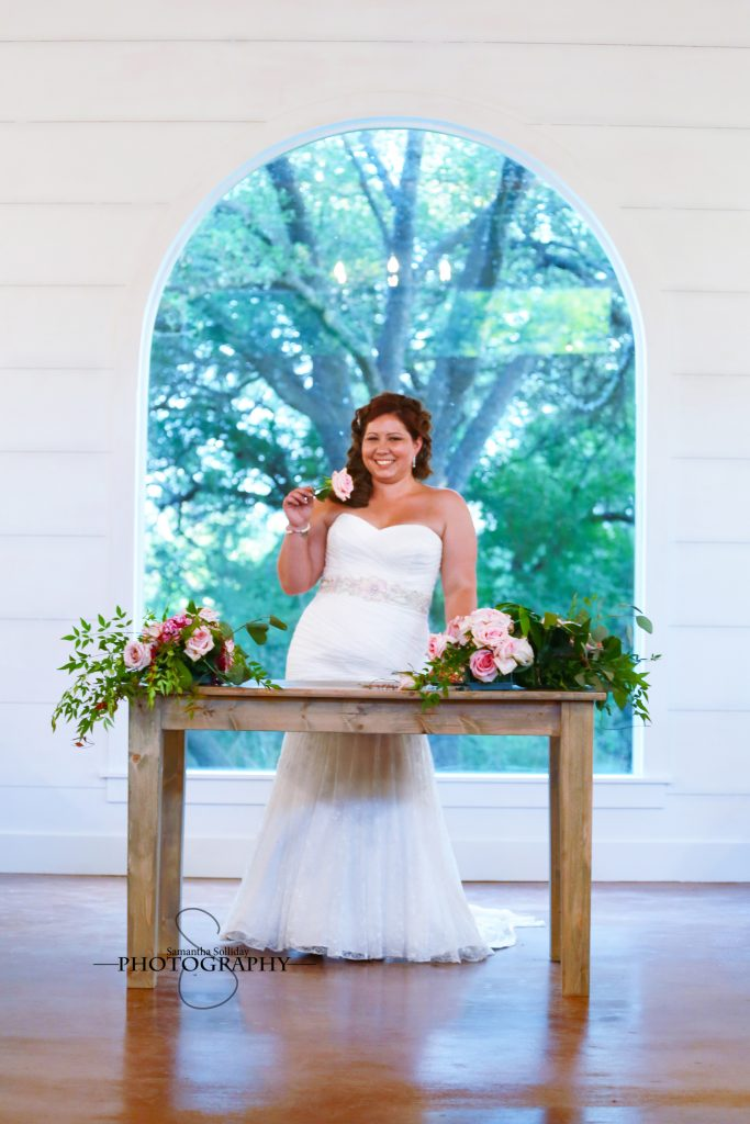 Temple Texas wedding venue bride in front of window