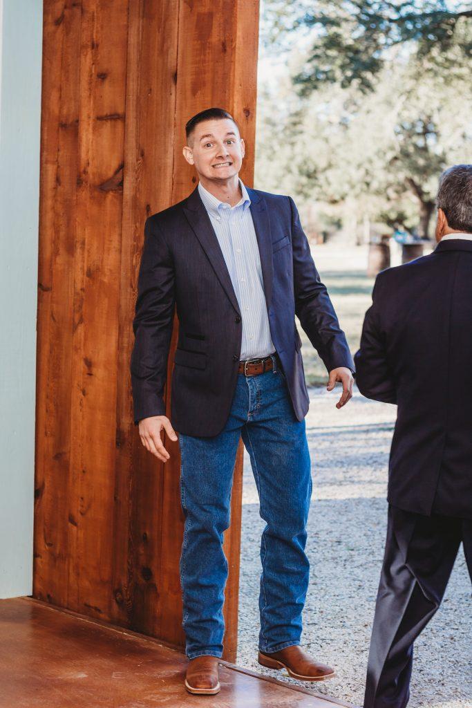 Groom at Temple Texas Wedding Venue