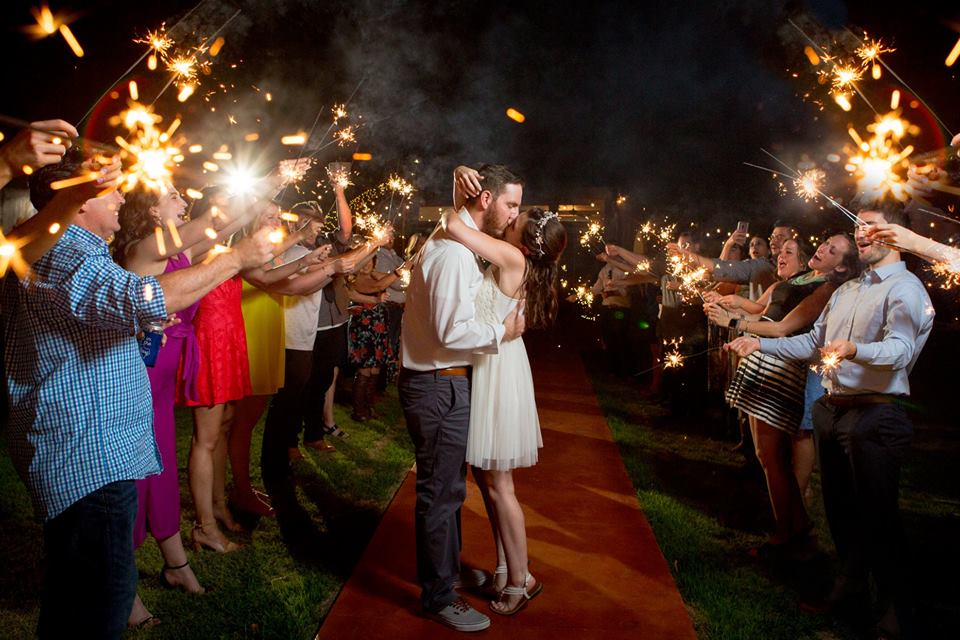 Couple kissing with sparklers Wedding Temple Texas