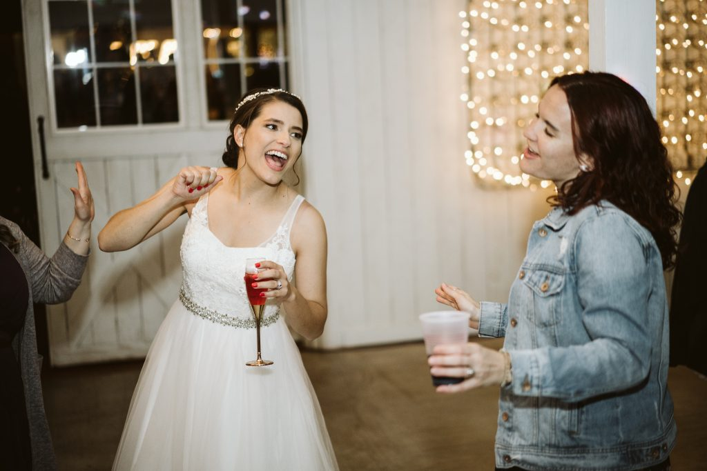 the bride dancing at reception