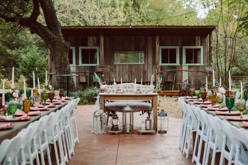 Fall Boho Wedding Reception Dinner outside Temple Texas Wedding Venue
