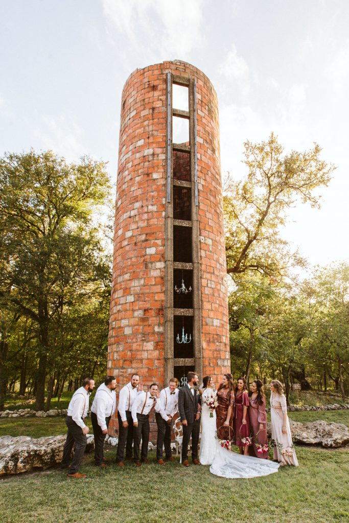 The Silo Bridal party bride and groom