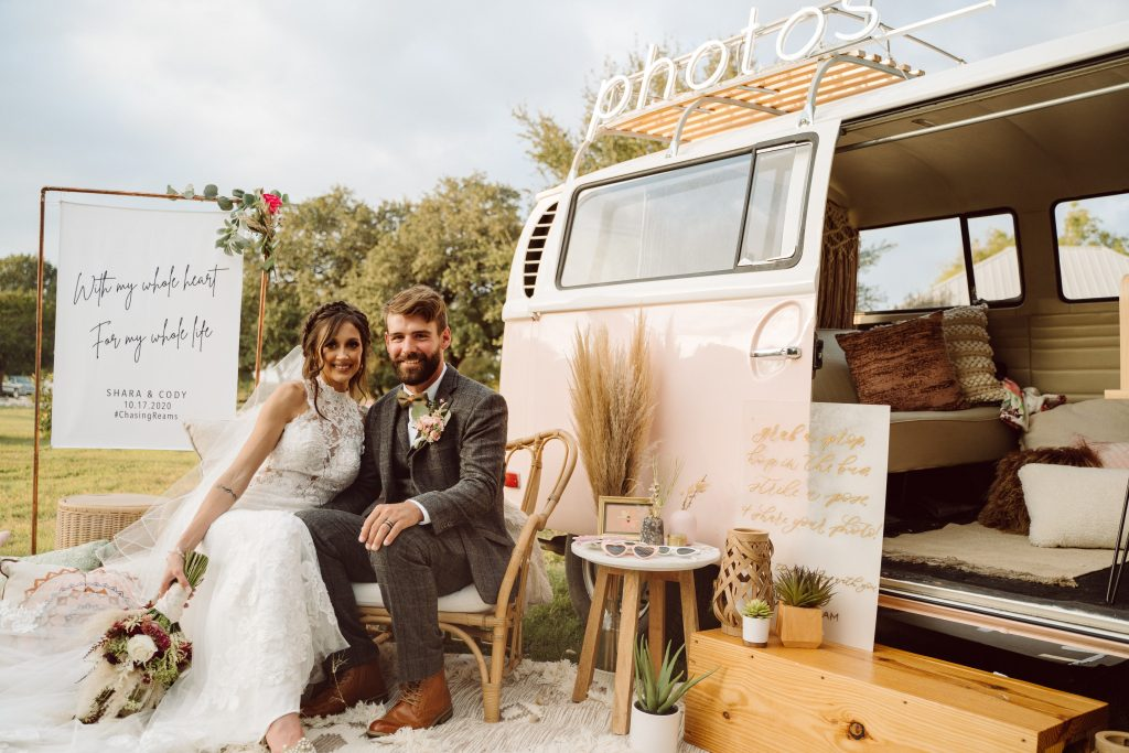 Photo Booth Van with bride and groom