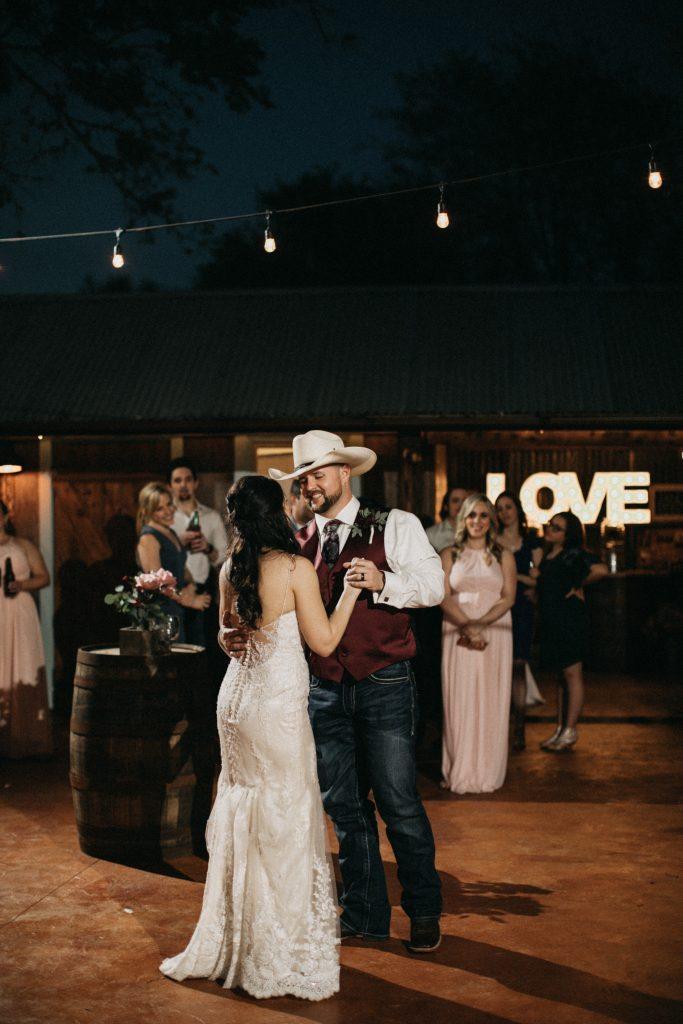 Groom and Bride dance Austin Area Wedding Venue