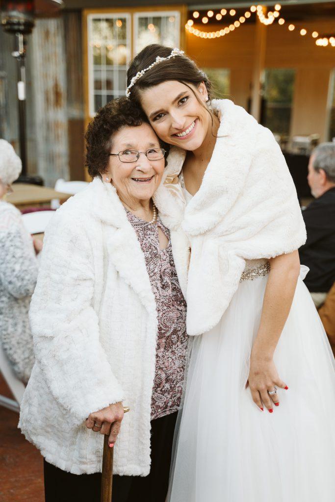 bride and grandma at wedding temple texas