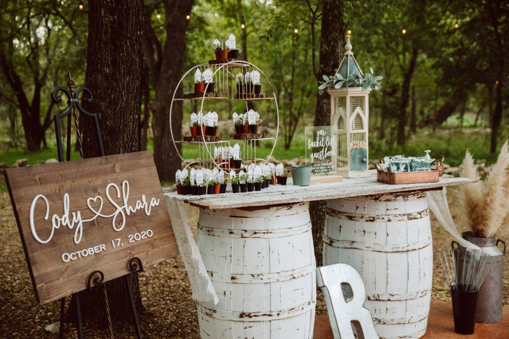 Boho Welcome Table wedding venue Temple Texas