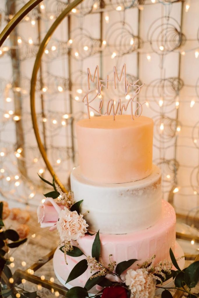 Pretty boho wedding cake