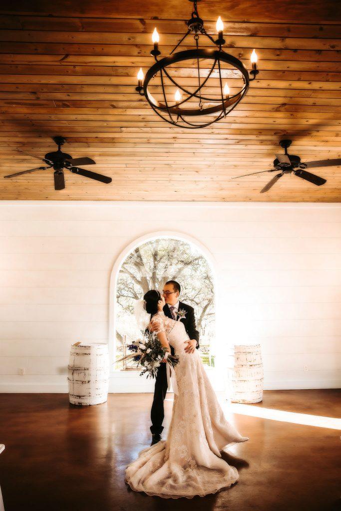 bride and groom in chapel